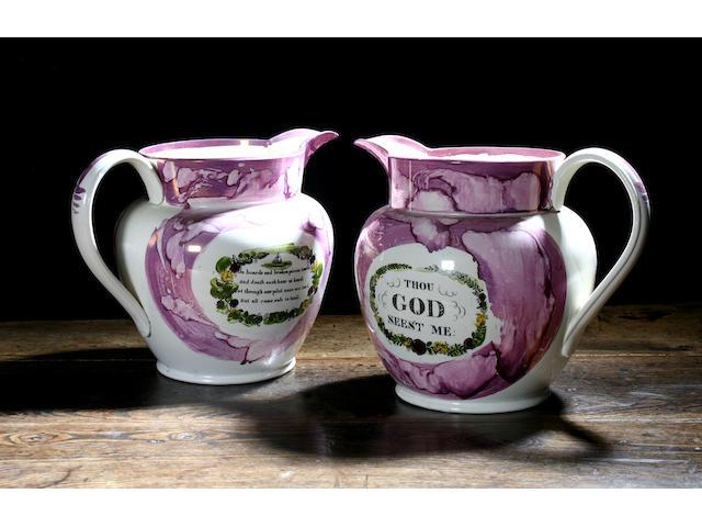 Two large Sunderland lustre jugs, circa 1820