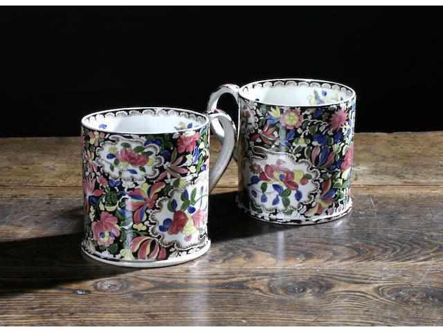 A pair of Staffordshire frog mugs, circa 1830