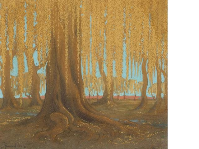Jacob Hendrik Pierneef (South African, 1886-1957) Willow tree 43 x 50 cm. (17 x 19¾ in.)