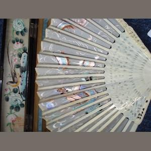 A Cantonese fan with ivory sticks;