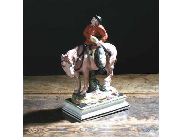 A pearlware figure of Hudibras, possibly John Wood circa 1790