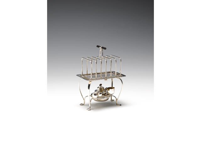 A silver 'Everhot' toast rack with warming base, by Asprey & Co. Limited, Birmingham 1910,