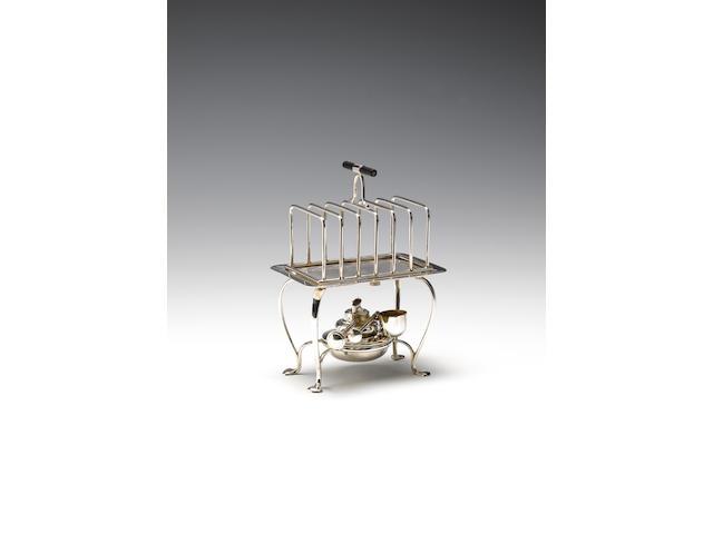 A silver 'Everhot' toast rack with warming base, by Asprey & Co. Limited, Birmingham 1910,