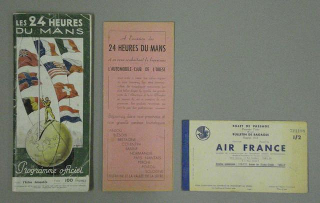 A programme for the 1949 Le Mans 24 hour race,