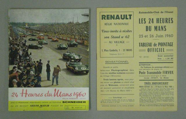 A programme for the 1960 Le Mans 24 hour race,