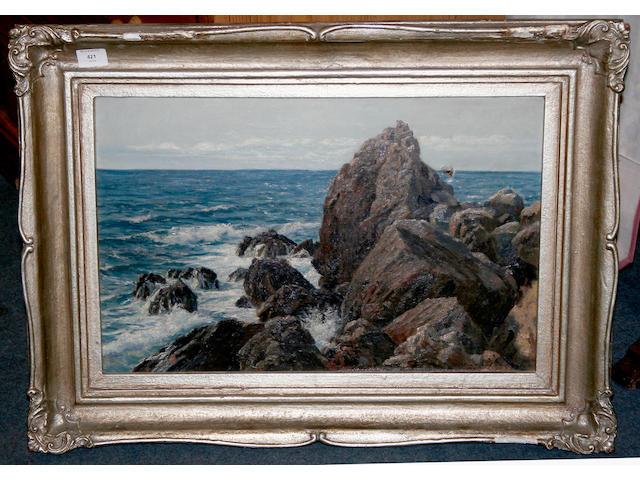 Wartan Mahokian Coastal scene 37cm x 58cm.