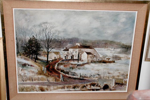 Jeremy King (British, 1933) Gilpin Bank in Winter 59cm x 79.5cm.