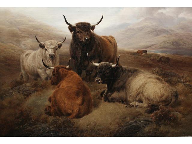 William Watson (British, died 1921) Highland cattle in an open landscape