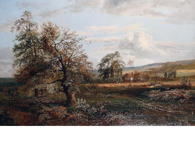 Alfred Bennett (British, active 1861-1916) 'Autumn - A stream in Hampshire'
