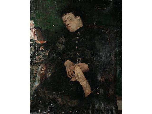 Alfred Stevens (Belgian, 1823-1906) Portrait of a woman sleeping, 92 x 74cm.
