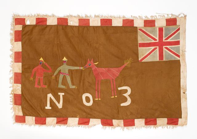 A Fante flag Ghana mounted, 37cm x 87cm