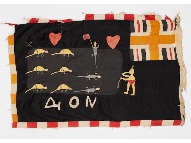 A Fante flag Ghana mounted, 157cm x 103cm