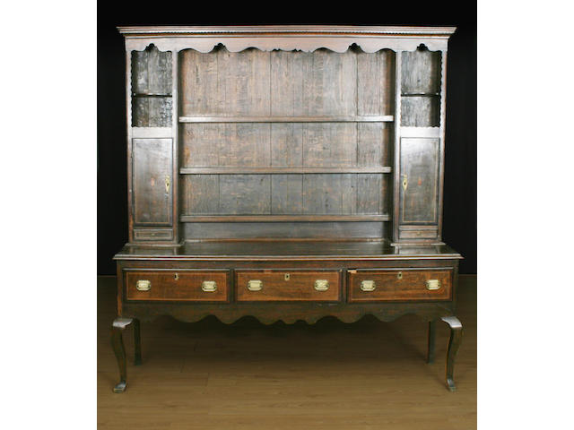 An oak and inlaid high dresser, 18th Century and later, Shropshire