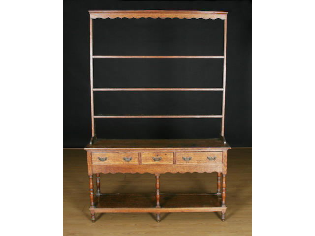 An oak high dresser, early 19th Century, South Wales