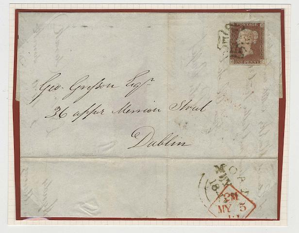 1841 1d.: JC, close at left to very large margins, tied to 1842 (May 4th) Irish E.L. from Moate to Dublin by clear M.C. in olive-green with matching Moate datestamp on reverse, filing fold well clear of adhesive, a very scarce cover, MacDonnell-Whyte Certificate (1997). SG Spec. B1sd, £15,000.