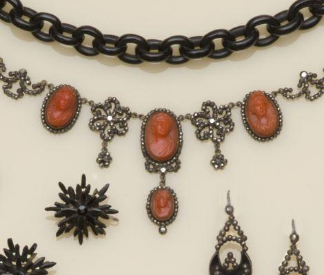 A 19th century coral cameo and cut-steel necklace