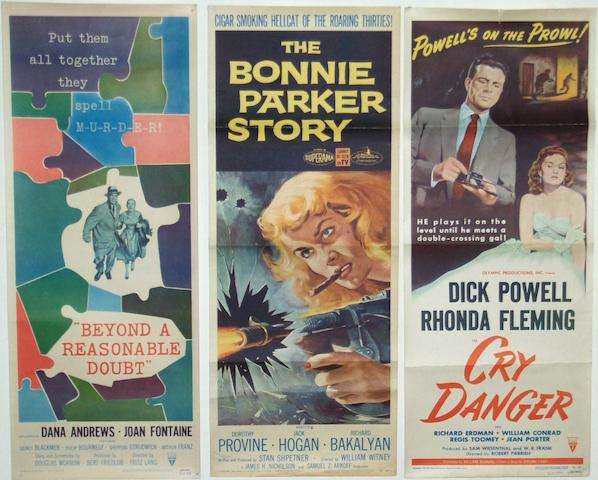 A collection of seven 1950's crime related US Insert posters, including: