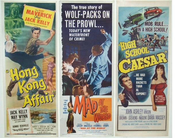 "A collection of five 1950's amd 1960's US Insert posters, all being ""Male Teen Angst"" style films, including:"