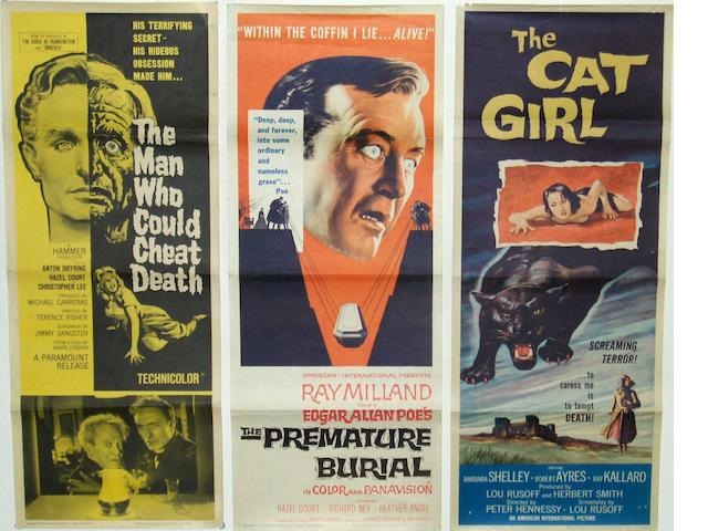 A collection of five 1950's and 1960's horror related US Insert posters, including: