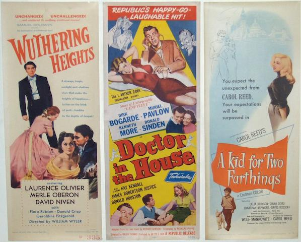 A collection of five 1950's British film US Insert posters,  including: