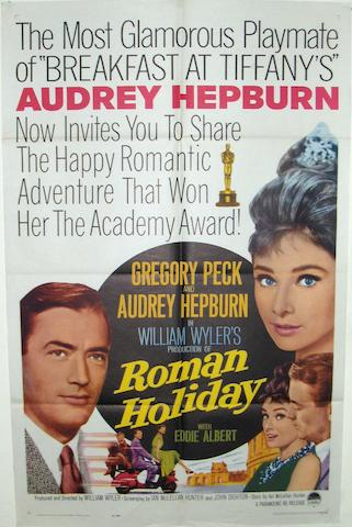 Two Audrey Hepburn related film posters, Roman Holiday, Paramount Pictures, 1953 and Charade, Universal Pictures, 1963,