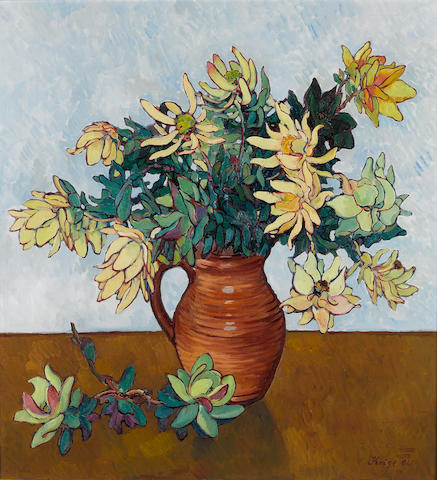 (n/a) Francois Krige (South African, 1913-1994) Still life of Proteas 66 x 61 cm. (26 x 24 in.)
