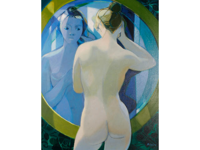 Camille Hilaire (French, 1916-2004) Nude at her mirror