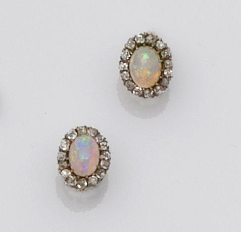 A pair of opal and diamond cluster earrings