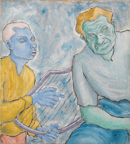 (n/a) Leonard Marchant (South African, 1929-2000) Portrait of Leonard Marchant and Siegbert Eike as Saul and David 64 x 58 cm. (25¼ x 22¾ in.)