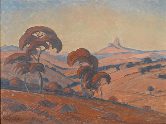 (n/a) Jacob Hendrik Pierneef (South African, 1886-1957) Transvaal landscape 38 x 51 cm. (15 x 20 in.)
