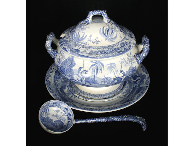 A Spode 'Indian Hunting' soup tureen with ladle, cover and stand