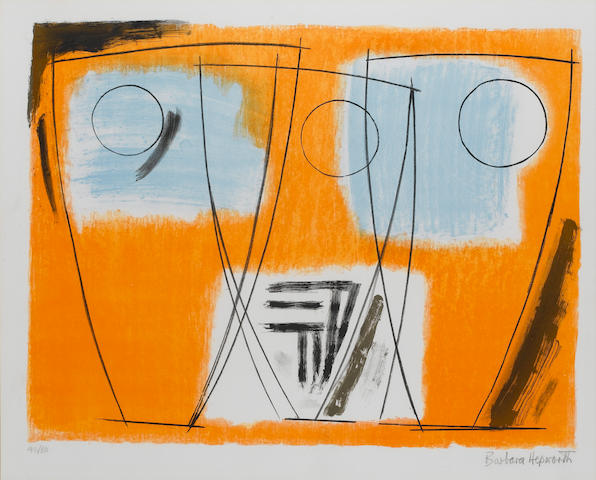 Dame Barbara Hepworth (British, 1903-1975) Three Forms Lithograph, 1969, printed in colours, on wove
