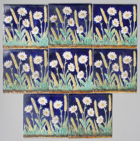 Eight rare George Jones majolica tiles