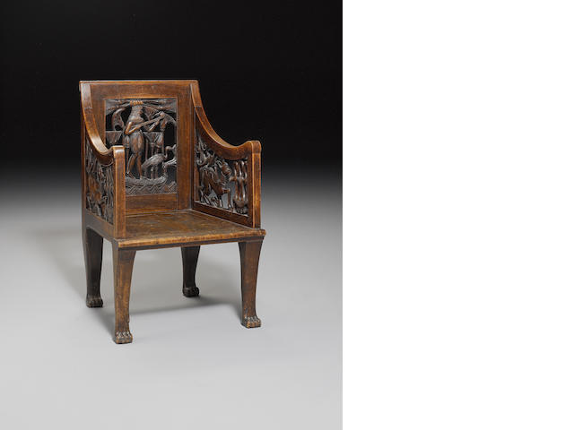 An Egyptian wooden openwork chair