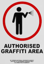 Banksy (British, born 1975) Happy Choppers, 2003 together with an 'Authorised Graffiti Area' sticker