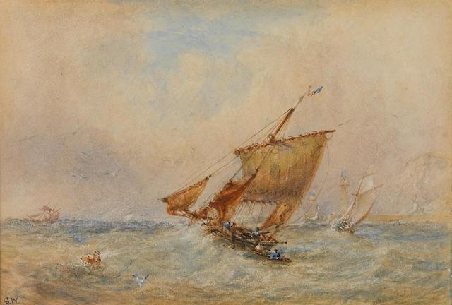 George Weatherill (British, 1810-1890) Shortening sail off Whitby