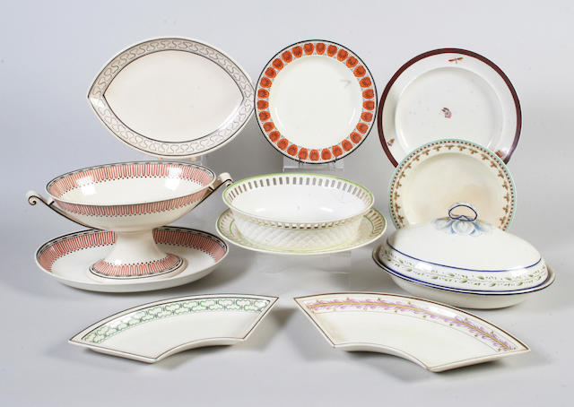 A Wedgwood creamware comport and stand and other enamelled creamwares Early 19th Century