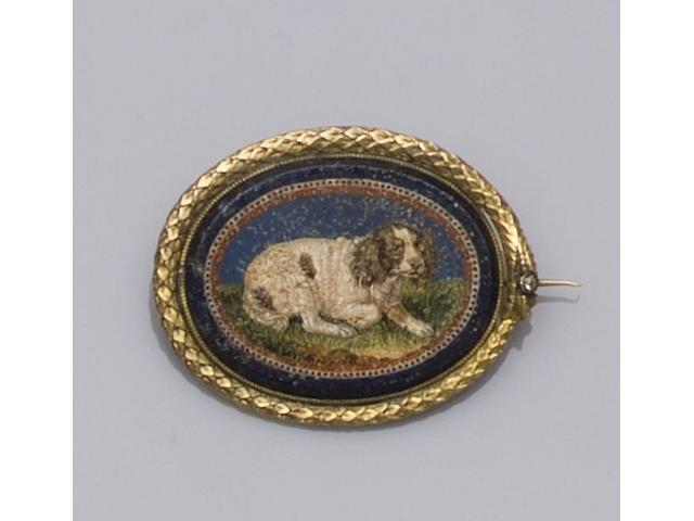 An early 19th century oval micro-mosaic brooch