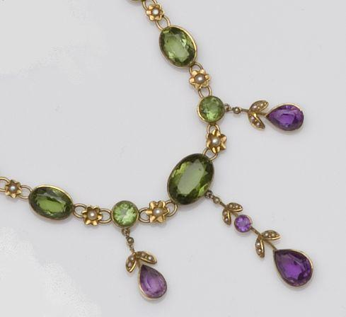 An Edwardian gem and seed pearl set necklace