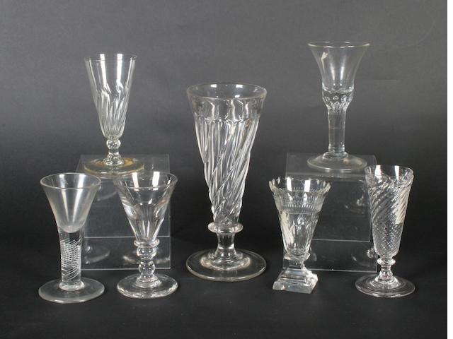 Three interesting wine glasses 18th century