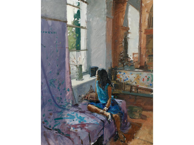 Ken Howard R.A. (British, born 1932) Sarah, Harmony in Blue 76.2 x 61 cm. (30 x 24 in.)