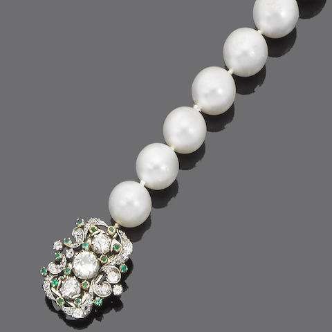 A single-strand cultured pearl, diamond and emerald necklace