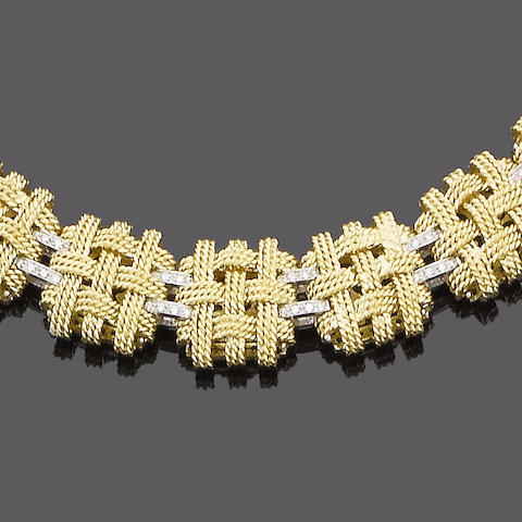 A fancy-link diamond necklace and bracelet suite (2) (partially illustrated)