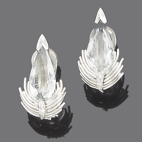 A pair of aquamarine and diamond earclips, by Grima
