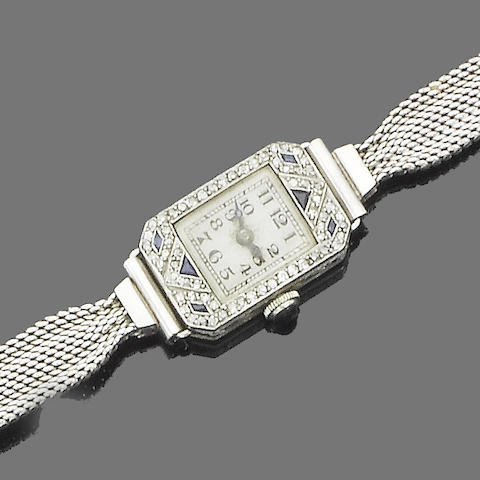 An art deco diamond and sapphire wristwatch,