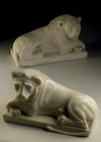 A pair of white carrara marble reclining lions 2