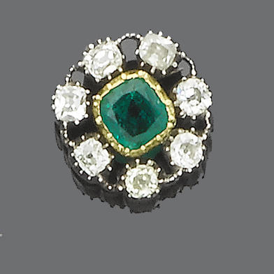 A 19th century emerald and diamond brooch/pendant