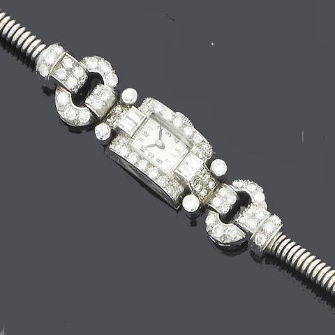 A diamond wristwatch,