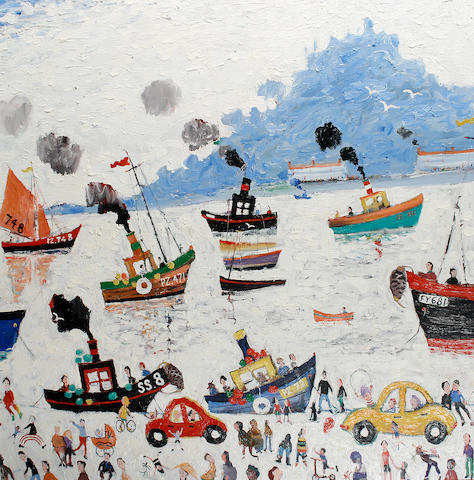 Simeon Stafford (British, born 1956) Sail and steam day at St. Michael's Mount