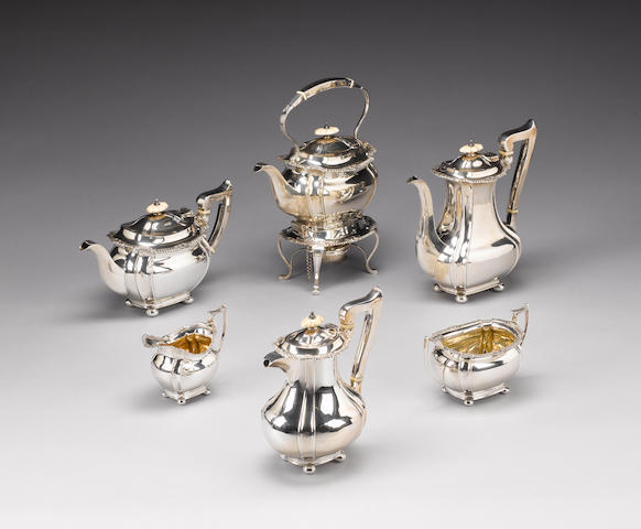 An Edwardian  silver six piece tea and coffee service, by J. Round, Sheffield 1904,